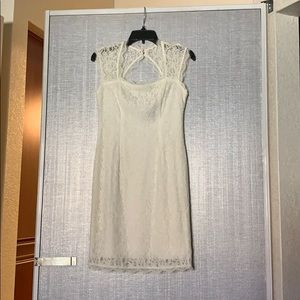 White lace Adrianna Papell cocktail dress